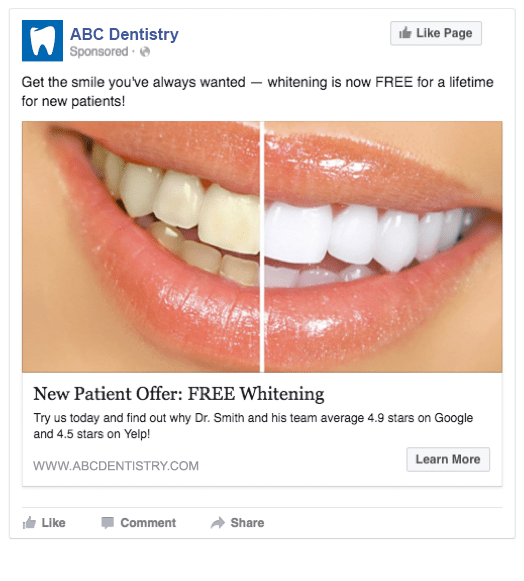 remarketing ad for a dental clinic