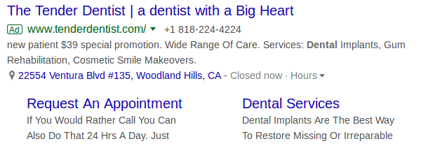 Google Ads for a dental clinic