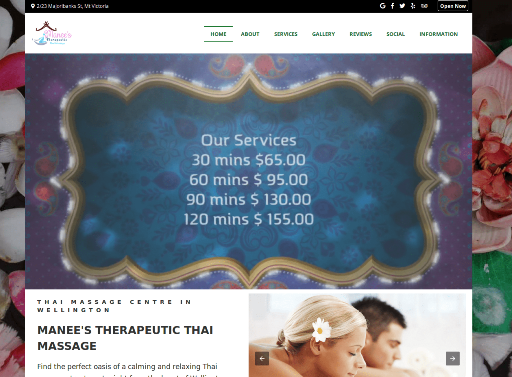 Manee's Thai Massage website screenshot.