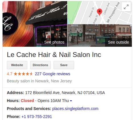 a salon's listing on google search.