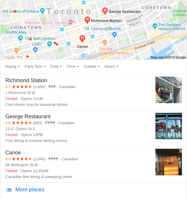 Google local search results with online reviews