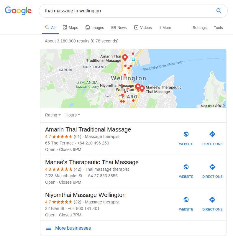 search results for thai massage spas in Wellington, NZ as a part of a local business marketing strategy