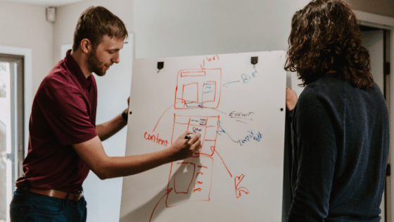 two people planning a website on a white board